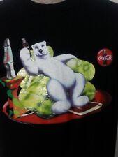 VTG 1998 Coca Cola Polar Bear Black Tee-Shirt Top Couch Lava Lamp Collectible XL