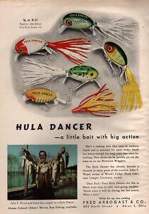 1948 Fred Arbogast Hula Dancer Fishing Lures Original Color Ad