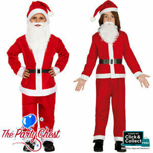 BOYS SANTA CLAUS FANCY DRESS COSTUME 5 Piece Childrens Father Christmas Outfit