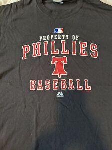 NEW Property of Philadelphia Phillies Baseball Shirt  Majestic LG Liberty Bell