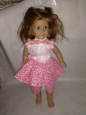 """18"""" American Girl Doll brown hair Blue eyes pink dress used."""