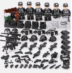 Squadra SWAT 6 minifigures più equipaggiamento compatibili Lego
