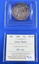 1966 Canadian  Silver Dollar  -  Large Beads  -  ICCS Graded  -  MS-65