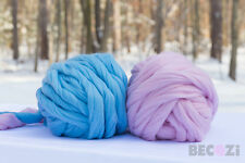 SUPER CHUNKY MERINO WOOL YARN, ARM KNIT, SUPER BULKY, GIANT YARN, JUMBO YARN