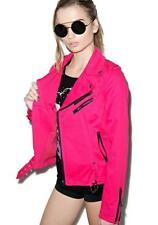 Tripp NYC Goth Punk Rocker Wild Child Pink Biker Moto Emo Zipper Jacket IS9125