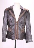 LB84 Gerry Weber Damen Lederjacke Blazer Jacke Leder braun  Gr. 40 tailliert