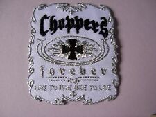 Choppers forever design iron on patch. Bikers. Black white silver Maltese cross