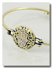 Evil Eye Bracelet Hamsa Hand Bangle Hammered Metal Pave BURNISHED GOLD Jewelry
