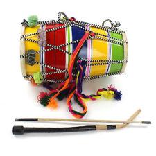 "Child Size Indian Bhangra Dhol Drum 12"" x 7"" with sticks & phuman. Fair-trade"