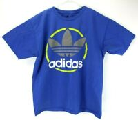 Adidas Mens Big Spell Out Letters Trefoil Logo Tee Shirt Size L Large Blue Retro