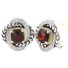 Andrea Candela 18k Gold & Sterling Diamond Garnet Love Knot Earrings ACE279/06