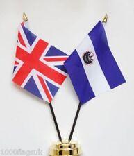 United Kingdom & El Salvador Double Friendship Table Flag Set