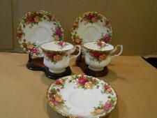 2 Royal Albert Old Country Roses Cups & 3 Saucers Made In England Vintage