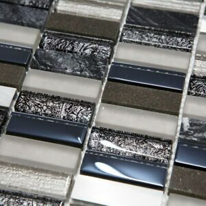 Dark Blue Glass & Stone Mosaic Tiles Sheet For Wall Floor Bathroom Kitchen