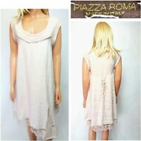 PIAZZA ROMA UK12/14 NEUTRAL / COCONUT 100% LINEN KNEE LENGTH SLEEVELESS DRESS#21