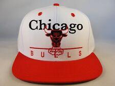 Chicago Bulls NBA Adidas Retro Snapback Cap Hat White Red