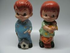 "Vtg 70's Ceramic 8"" Figurines Red Hair Girl Ragdoll/Cat & Boy w/ Birdhouse Rare!"