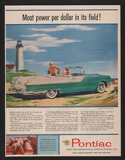 1955 Green PONTIAC STAR CHIEF Convertible Car -  LIGHTHOUSE - BEACH VINTAGE AD