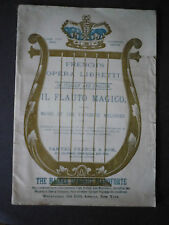 French's Opera Libretto Il Flauto Magico Italian and English date late 1800's?