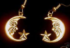 Celestial Half Moon Faces Earrings 24 Karat Gold Plate