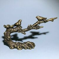 Old Vintage Brass Handwork Collectible Flowers & Birds Ornament Statue Arts