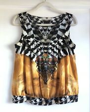 Basso & Brooke 100% Silk Printed Blouse Top Size 44 10 Made In Italy