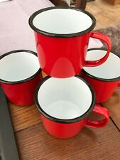 4 x  Enamel Mugs Cups Tin Metal Camping Outdoor Tea Coffee red with black trim