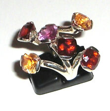 Einzelstück 925 Sterling Silber Ring Citrin Rubin Amethyst Gr 54 /17,2 mm Neu