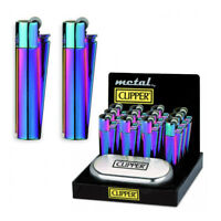 Clipper Rainbow Metal Gas Lighter Icy Shiny Cigarette Lighters Ideal Gift UK