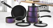 5 Piece Purple Iridescent Pan Set - Silicone wrap handles and knobs - Non Stick