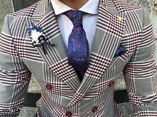 Designer Business Burgundy Grey Checked Double Row Suit Fitted Slim