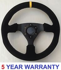SUEDE RALLY STEERING WHEEL 330MM FITS OMP SPARCO MOMO MOUNTNEY BOSS KIT BLACK