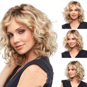 Frauen Perücken Short Wavy Curly mit Pony Blond Synthetic Cosplay Party Perücke
