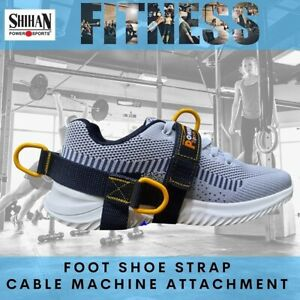 BLACK/YYELLOW  5-D Ankle/Foot Shoe Strap  5 -Ring Cable Gym Machine Attch UNISEX