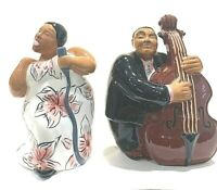 "Vintage Black Americana ""Jazz Diva & Base Player "" Salt & Pepper Shakers"