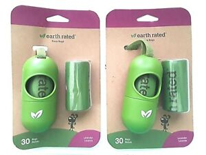 2 - Earth Rated, Leash Dispenser, Dog Waste Bags, Lavender Scented, 2 refills ea