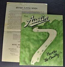 1934-1935 Austin Seven 7 Brochure + Prices Ruby Pearl Nippy Sports Nice Original