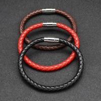 Unisex Braided Leather Steel Magnetic Clasp Bracelet Handmade J9N0
