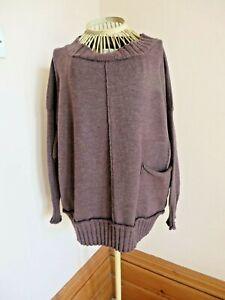 Joyce Ridings Brown Wool Jumper Sweater Size S Bust 46 In Oversized L 24 In NEW