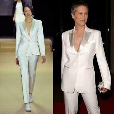 Women Ladies White Silver Business Office Tuxedos Work Wear Trousers Suits