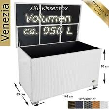 Kissenbox Auflagenbox Gartentruhe Gartenbox Truhe Box Polyrattan Rattan Weiss XL