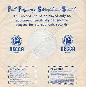 "Vintage INNER SLEEVE or SLEEVES 12"" DECCA Full Frequency Stereo FFSS blue v3 x 1"