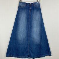 Vintage Baleno Small Blue Long Denim Maxi Skirt Womens Modest Pockets A Line