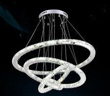 """4 Rings LED Pendant Light Crystal Chandelier Lighting Chrome Finished Lamp 31.4"""""""