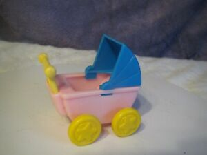 Vintage LITTLE TIKES  doll house FURNITURE PINK/BLUE/YELLOW BABY CARRIAGE