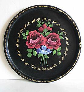 "Mt Vernon VA Virginia Hand Painted Roses Vintage 11"" Souvenir Tray FREE SH"