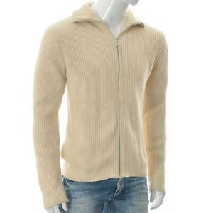A.P.C. Men's Full Zip Ribbed Knitted Cardigan Sweater Long Sleeve Size L Cream