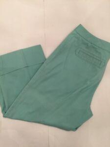 """8 Sigrid Olsen Clair Turquoise Femmes Pantalon Corsaire 100% Coton 21 """" Inseam"""