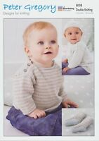 Peter Gregory Double Knitting DK Pattern Baby Sweater,Dress, Socks & Hat 808
