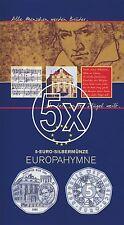 5x Österreich 5 Euro 2005 Silber Europahymne hgh im Blister